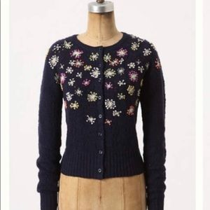 Anthropologie Edie Navy Foral Cardigan Sweater L